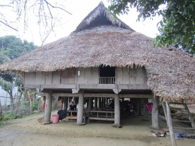 Stilt house with thatched roof
