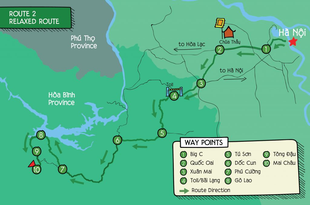 Hand Draw Route map to Mai Chau route 2